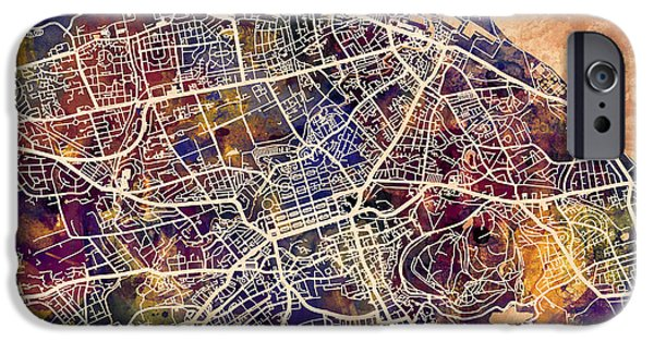 Great Britain iPhone Cases - Edinburgh Street Map iPhone Case by Michael Tompsett