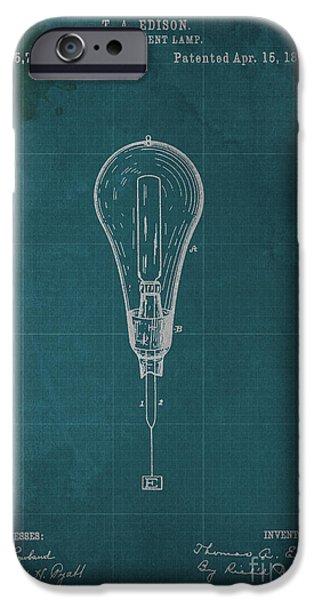 Edison iPhone Cases - Edison Incandescent Lamp Patent Blueprint iPhone Case by Pablo Franchi