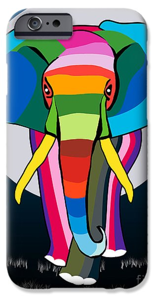 Caricature Posters iPhone Cases - Elephant  iPhone Case by Mark Ashkenazi