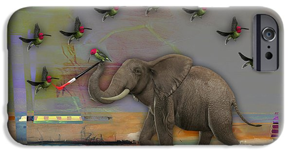 Birds iPhone Cases - Elephant Painting iPhone Case by Marvin Blaine