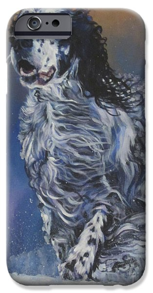 Snowy Day Paintings iPhone Cases - English Setter iPhone Case by Lee Ann Shepard