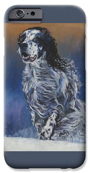 Snowy Day iPhone Cases - English Setter iPhone Case by Lee Ann Shepard