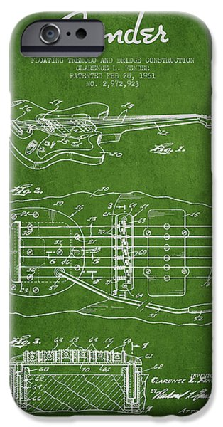Fender Floating Tremolo patent Drawing from 1961 - Green iPhone Case by Aged Pixel