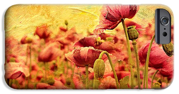 Flora Mixed Media iPhone Cases - Field Of Poppies iPhone Case by Heike Hultsch