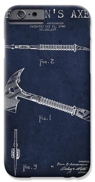 Gear Digital iPhone Cases - Fireman Axe Patent drawing from 1940 iPhone Case by Aged Pixel
