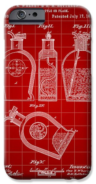 Wine Sipping iPhone Cases - Flask Patent 1888 - Red iPhone Case by Stephen Younts