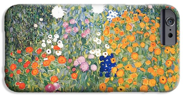 Garden Scene Paintings iPhone Cases - Flower Garden iPhone Case by Celestial Images