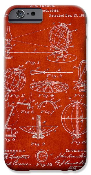 Folding School Globe Patent Drawing From 1887 iPhone Case by Aged Pixel
