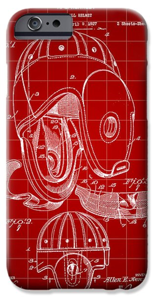Pro Football iPhone Cases - Football Helmet Patent 1927 - Red iPhone Case by Stephen Younts