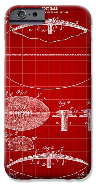 Pro Football iPhone Cases - Football Patent 1902 - Red iPhone Case by Stephen Younts