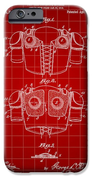 Pro Football iPhone Cases - Football Shoulder Pads Patent 1913 - Red iPhone Case by Stephen Younts