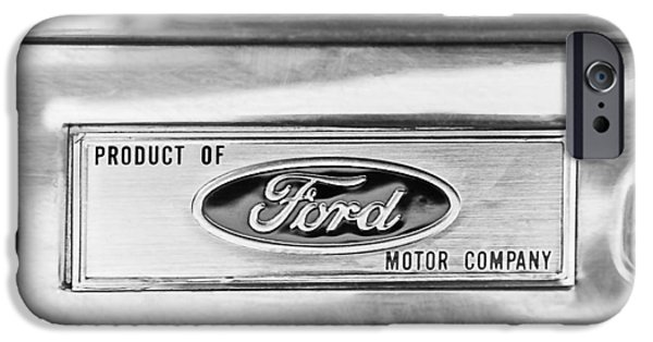 Of Power iPhone Cases - Powered by Ford Emblem -0307BW iPhone Case by Jill Reger