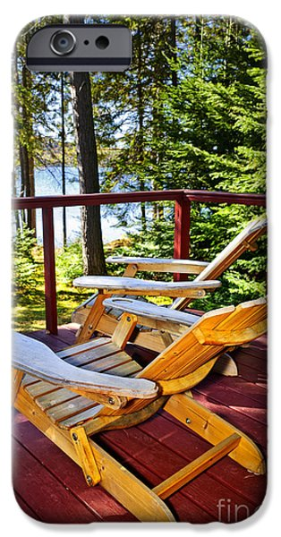 Porch iPhone Cases - Forest cottage deck and chairs iPhone Case by Elena Elisseeva