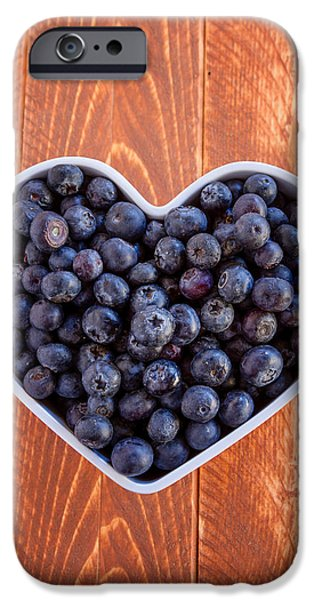 Blueberry iPhone Cases - Fresh picked organic blueberries iPhone Case by Teri Virbickis