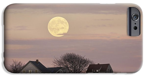 Down East iPhone Cases - Full Moon Over Georgetown Island Maine iPhone Case by Keith Webber Jr