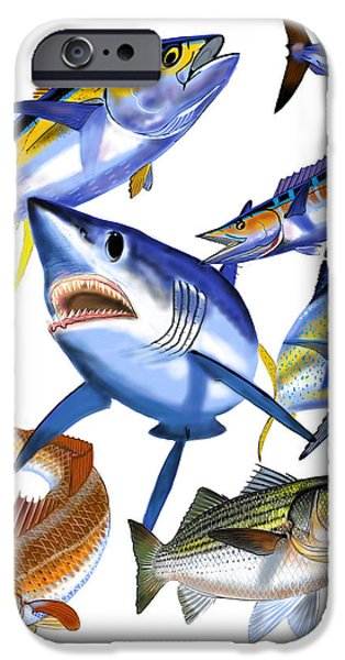 Shark Digital iPhone Cases - Gamefish collage iPhone Case by Carey Chen