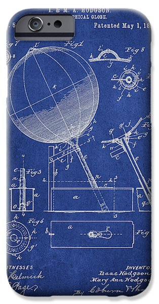 Globe iPhone Cases - Geographical Globe Patent Drawing From 1894 iPhone Case by Aged Pixel
