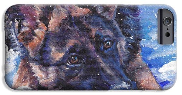 German Shepard iPhone Cases - German Shepherd iPhone Case by Lee Ann Shepard