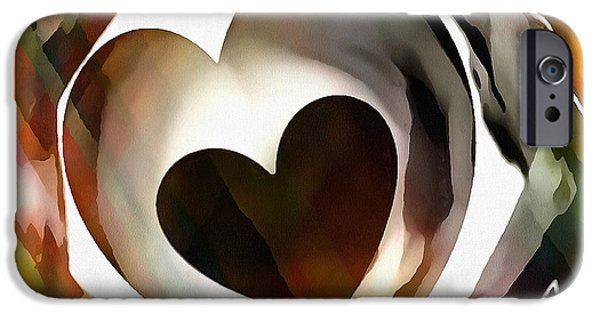 Catherine White Digital Art iPhone Cases - GET CONNECTED At Heart iPhone Case by Catherine Lott