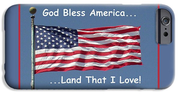 Old Glory iPhone Cases - God Bless America iPhone Case by Barbara Snyder
