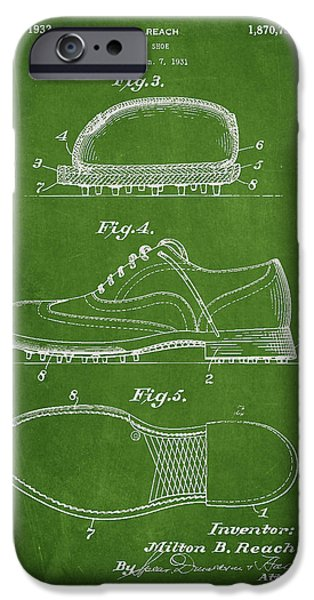 Golfing iPhone Cases - Golf shoe Patent Drawing From 1931 iPhone Case by Aged Pixel