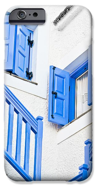 Balcony iPhone Cases - Greek house iPhone Case by Tom Gowanlock