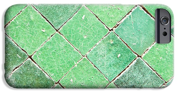 Mosaic iPhone Cases - Green tiles iPhone Case by Tom Gowanlock
