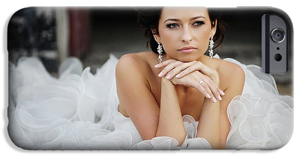 Model iPhone Cases - Happy beautiful bride iPhone Case by Krzysztof Serafinski