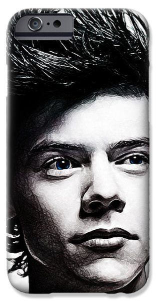 One Digital Art iPhone Cases - Harry Styles iPhone Case by The DigArtisT