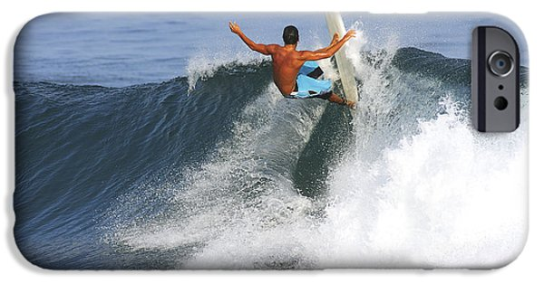 Break Fast iPhone Cases - Hawaii, Oahu, North Shore, Pipeline, Surfer, Riding A Wave. iPhone Case by Vince Cavataio