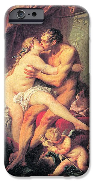 Bed Spread iPhone Cases - Hercules and Omphale iPhone Case by Francois Boucher