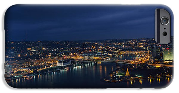 Heinz iPhone Cases - High Angle View Of Buildings Lit iPhone Case by Panoramic Images