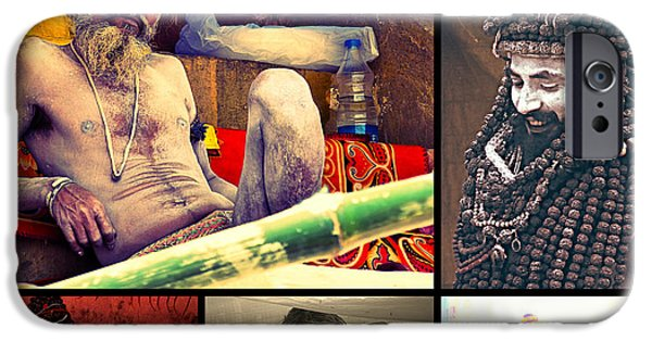 Metal Prints Pyrography iPhone Cases - Hindu Saint iPhone Case by Girish J