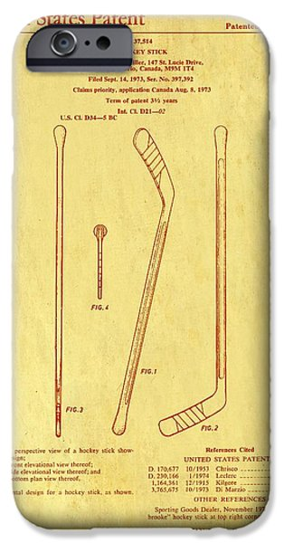 Hockey Drawings iPhone Cases - Hockey Stick Patent 1975 iPhone Case by Mountain Dreams