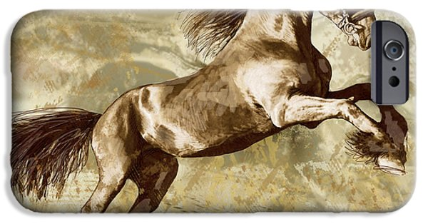 Charcoal Mixed Media iPhone Cases - Horse Stylised Pop Art Drawing Potrait Poser iPhone Case by Kim Wang