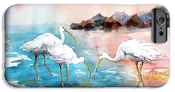 The Nature Center Paintings iPhone Cases - Ibis on the Beach iPhone Case by Joyce Allen