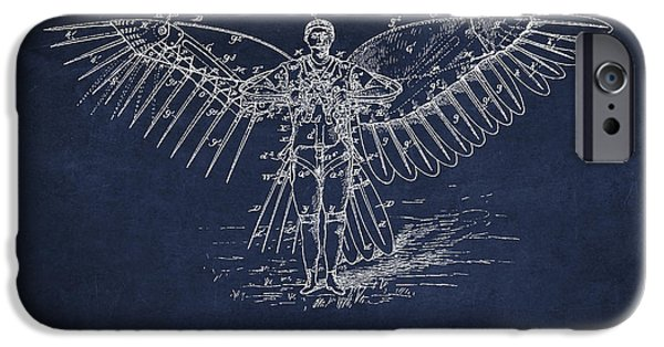 Flight iPhone Cases - Icarus Flying machine Patent Drawing Front View iPhone Case by Aged Pixel