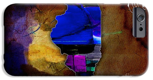 States iPhone Cases - Illinois Map Watercolor iPhone Case by Marvin Blaine