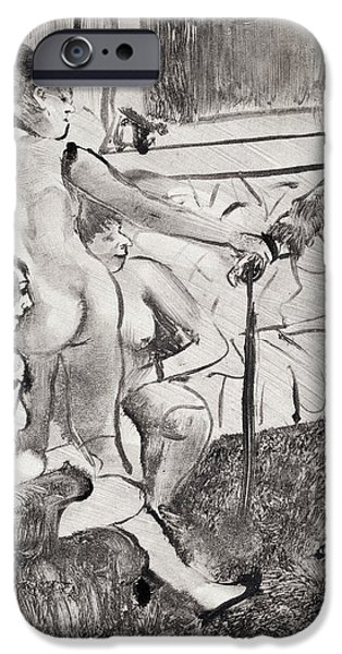Pastel Drawings iPhone Cases - Illustration from La Maison Tellier by Guy de Maupassant iPhone Case by Edgar Degas