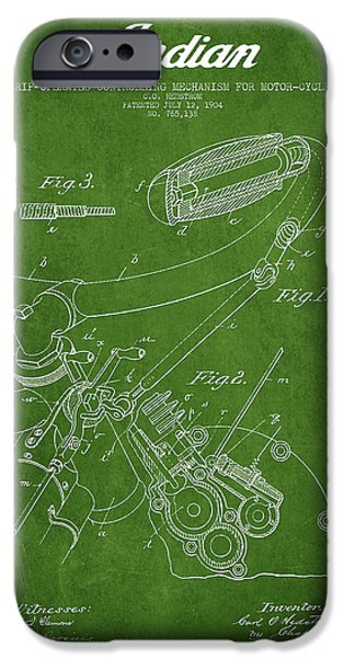 Technical iPhone Cases - Indian motorcycle Patent From 1904 - Green iPhone Case by Aged Pixel