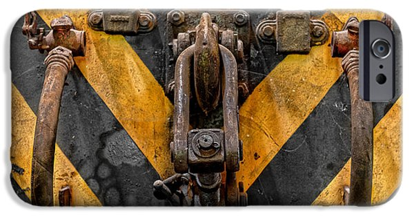 Industrial Pyrography iPhone Cases - Industrial crain closeup photo iPhone Case by Oliver Sved
