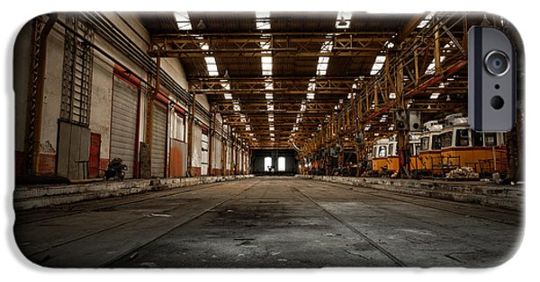 Hall Pyrography iPhone Cases - Interior of a vehicle repair station iPhone Case by Oliver Sved