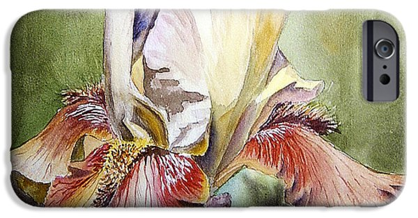 Floral Still Life Paintings iPhone Cases - Iris Painting iPhone Case by Irina Sztukowski