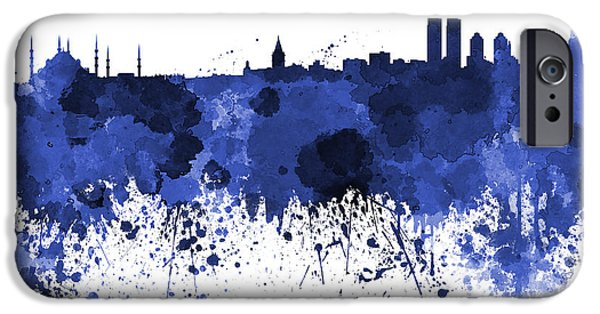 Istanbul iPhone Cases - Istanbul skyline in watercolor on white background iPhone Case by Pablo Romero