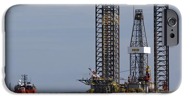North Sea iPhone Cases - Jackup Oil Drilling Rig, North Sea iPhone Case by Duncan Shaw