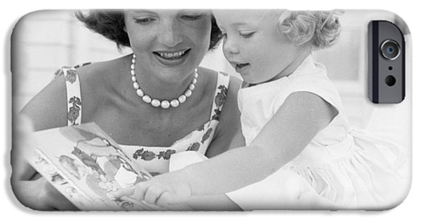 First Lady Photographs iPhone Cases - Jacqueline and Caroline Kennedy at Hyannis Port 1959 iPhone Case by The Phillip Harrington Collection