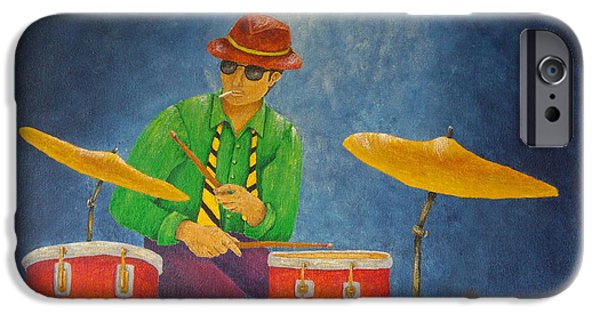 Original Mixed Media iPhone Cases - Jazz Drummer iPhone Case by Pamela Allegretto