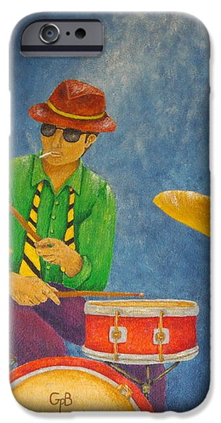Jazz Drummer iPhone Case by Pamela Allegretto