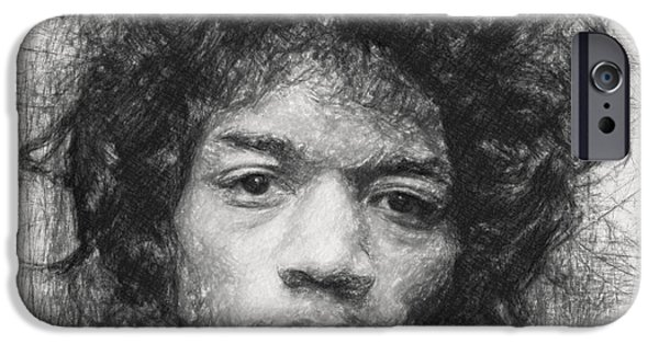 Stratocaster Drawings iPhone Cases - Jimi Hendrix iPhone Case by Taylan Soyturk