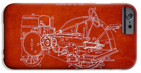 Tractors iPhone Cases - John Deer Tractor Patent drawing from 1933 iPhone Case by Aged Pixel